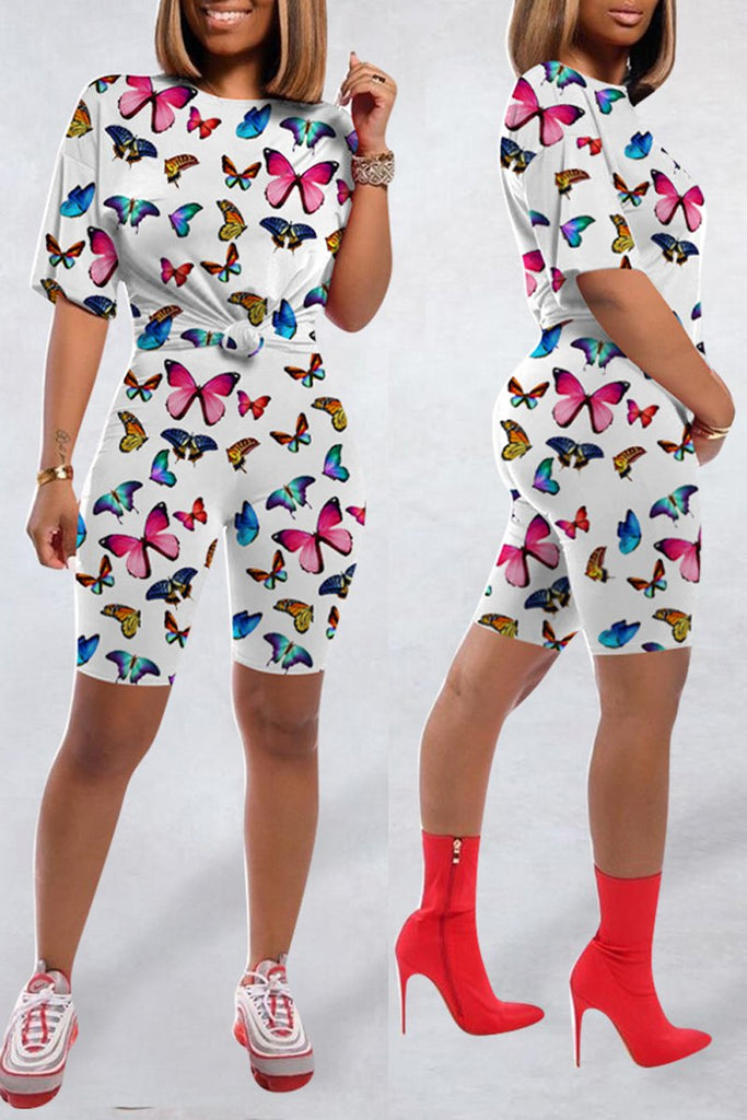 Butterfly Print Short Sleeve Two Piece Outfits