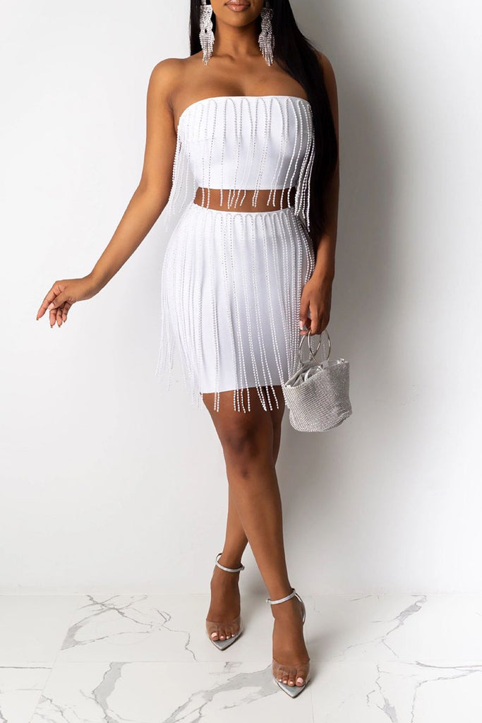 Strapless Tassels Solid Color Two Piece Dresses