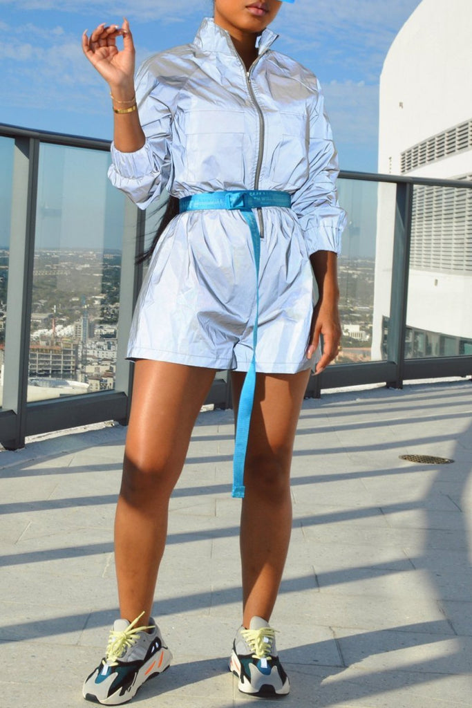 Solid Color Casual Zipper Long Sleeve Romper Without Belt