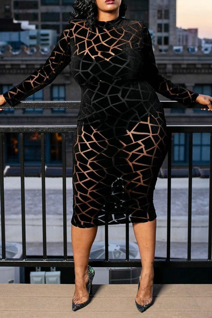 Plus size Geometric See-Through Dress
