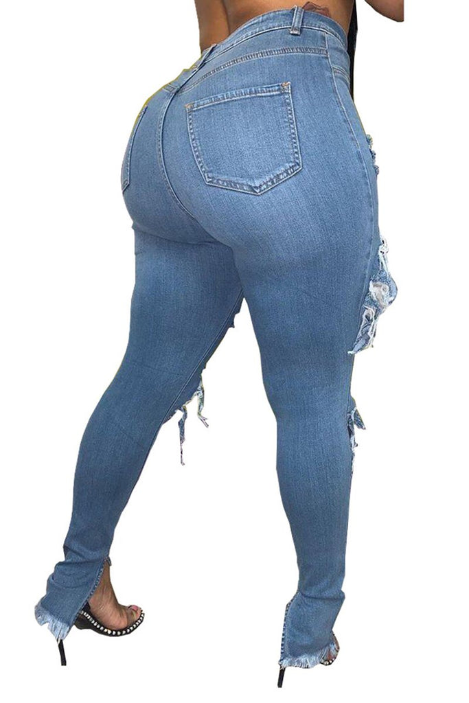 Plus Size Hole Distressed Denim Pants