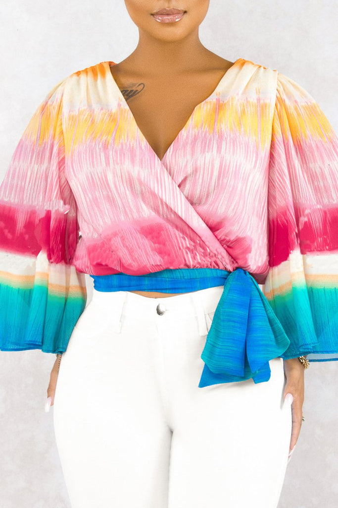 Rainbow Striped V Neck Lace-up Blouse
