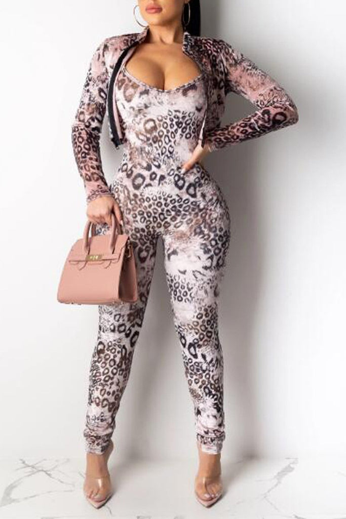 Leopard Print Long Sleeve Jacket & Jumpsuit