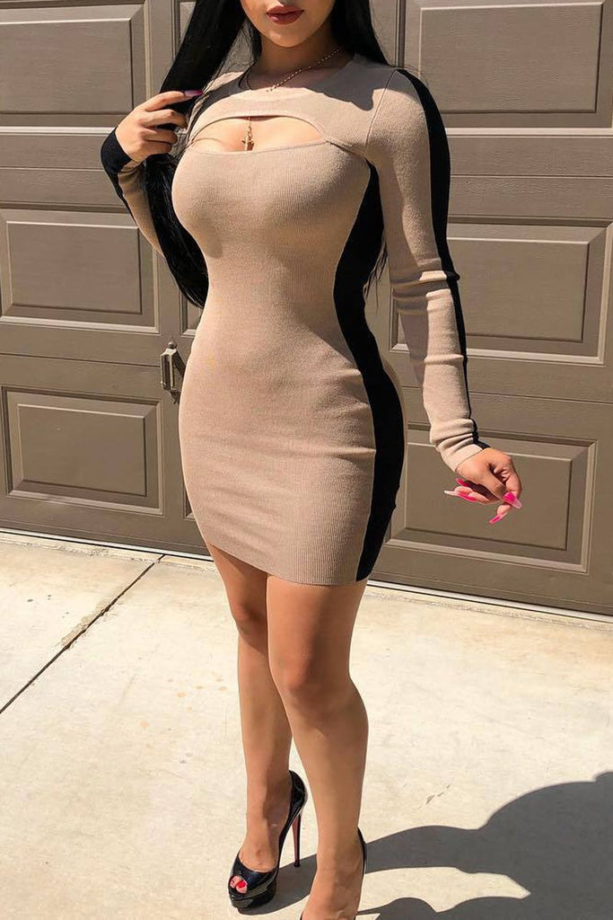Side Striped Hollow Out Mini Dress