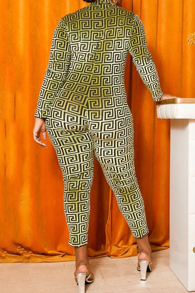 Plus Size Geometric Print Zipper Jumpsuit