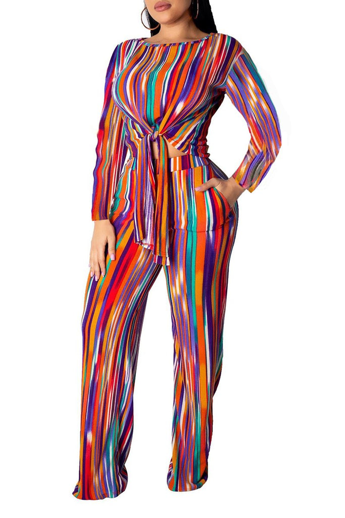 Colorful Rainbow Striped Tie Up Top & Pants