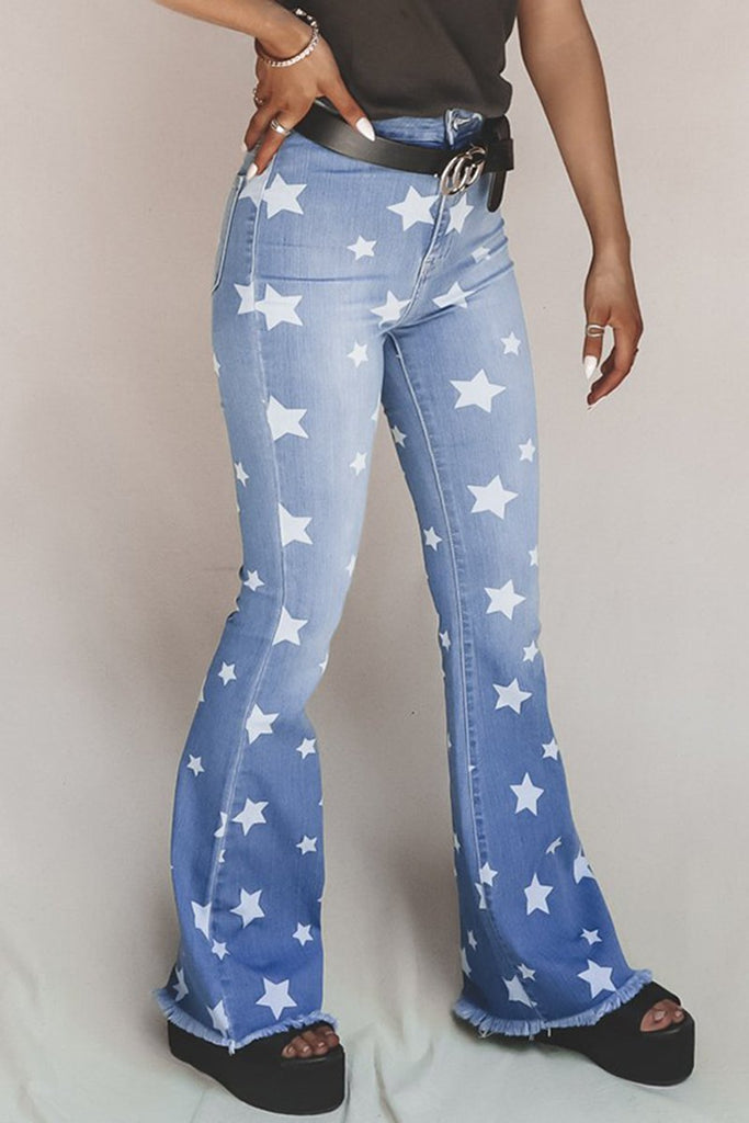 Denim Star Edge Distressed Flared Pants