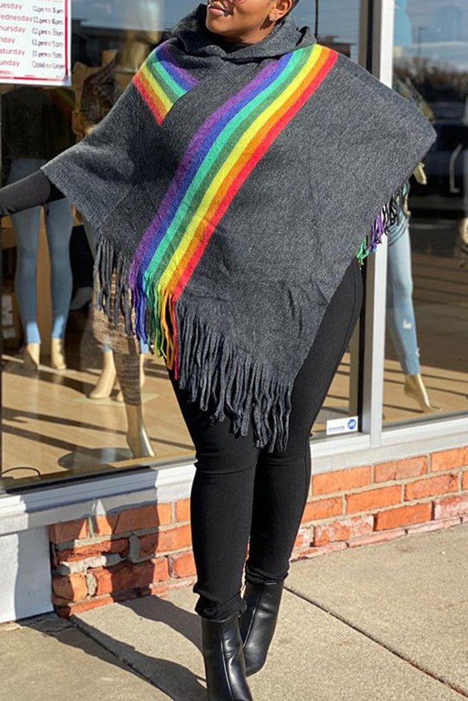 Rainbow Knitted Tassels Hooded Cloak