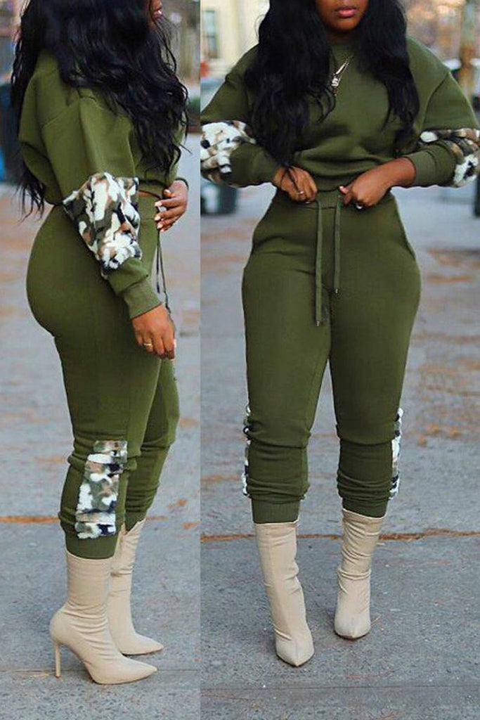 Plush Camouflage Printed Drawstring Two Piece Sets