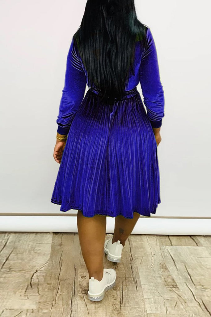 Sequins Drawstring Waist Zipper Pleated Dress