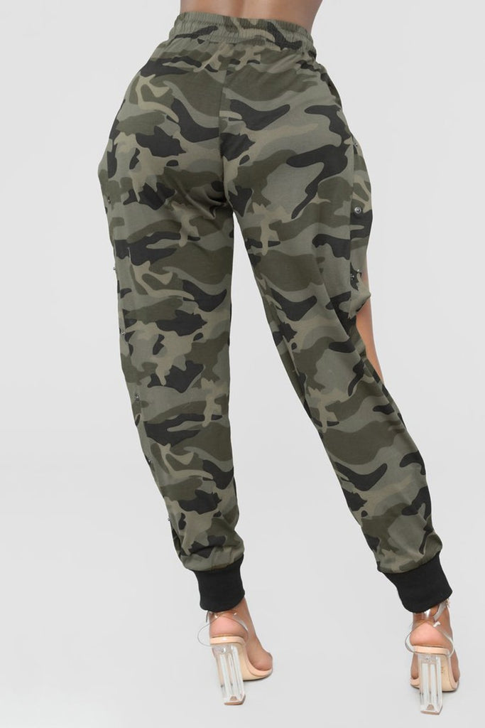 Side Button Camouflage Print Casual Pants