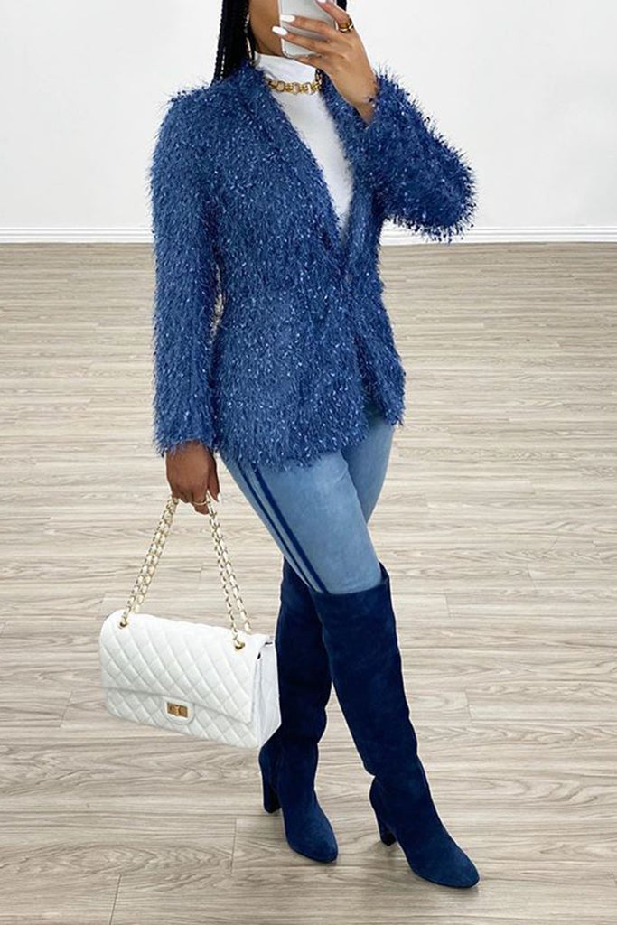 V-Neck Fur Solid Color Long Sleeve Coat