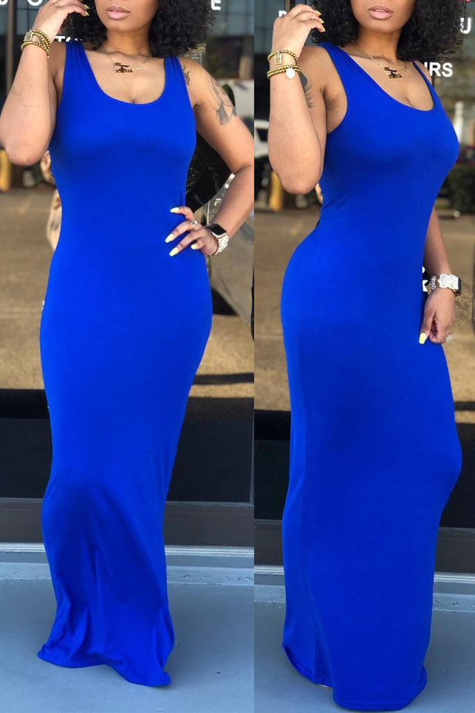 Sleeveless Solid Color Scoop Neck Maxi Dress