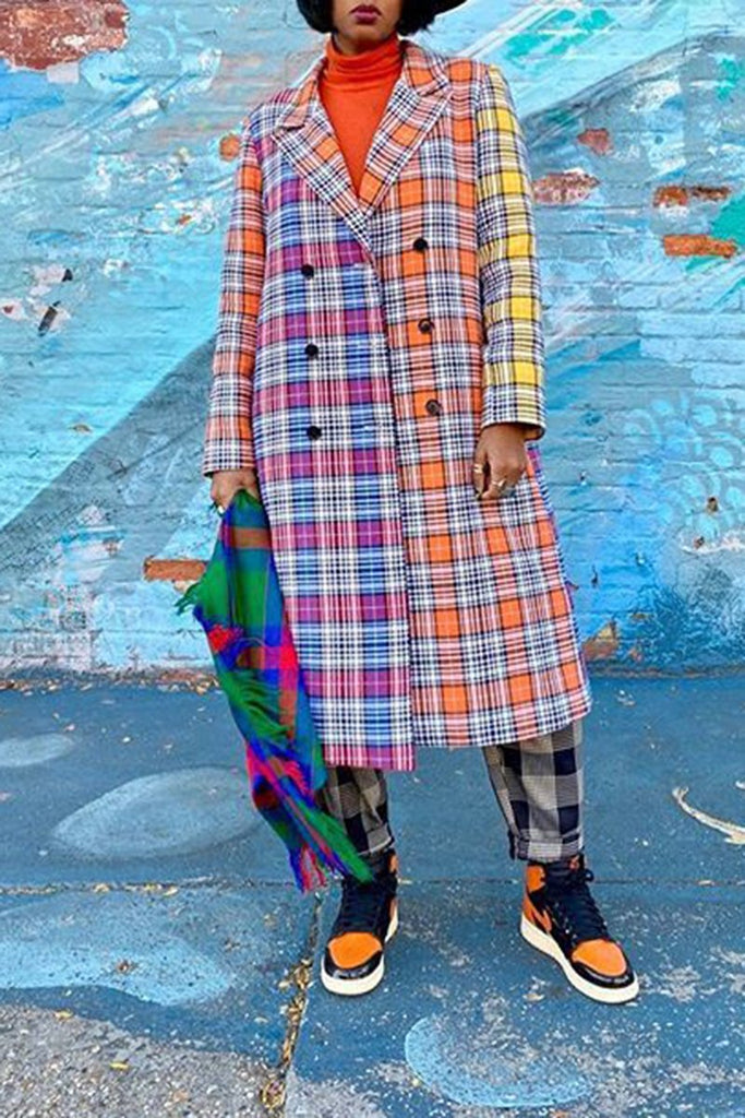 Lattice Colorful Button Up Long Sleeve Coat