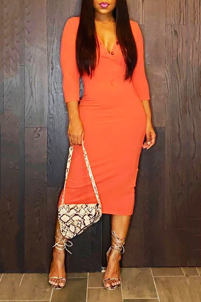 Rib V-Neck Solid Color Midi Dress
