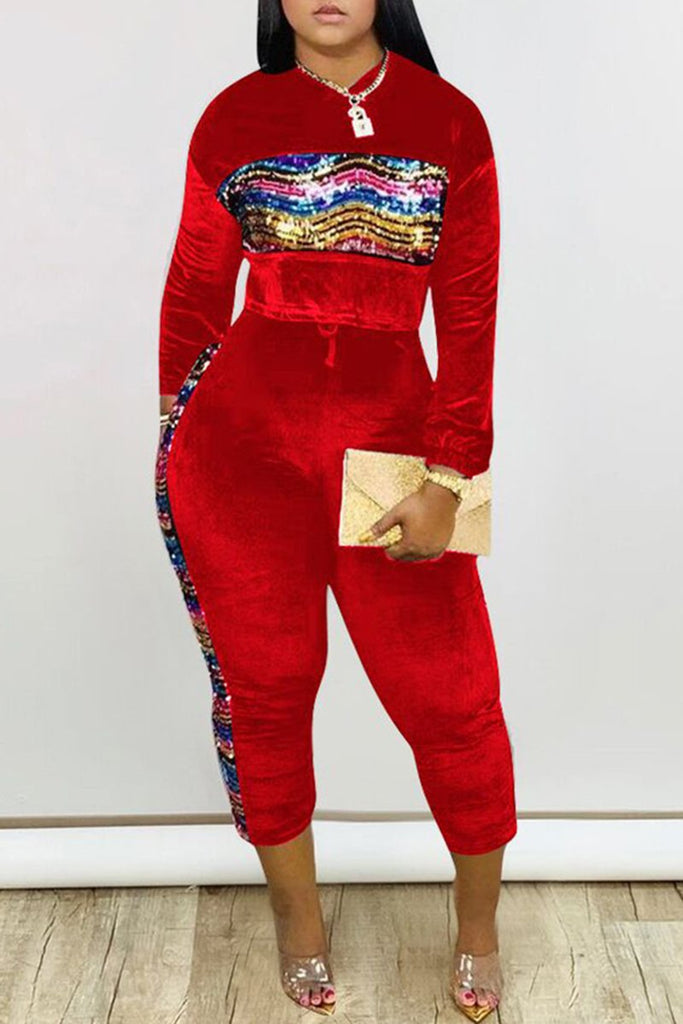Plus Size Colorful Sequins Pocket Top & Pants