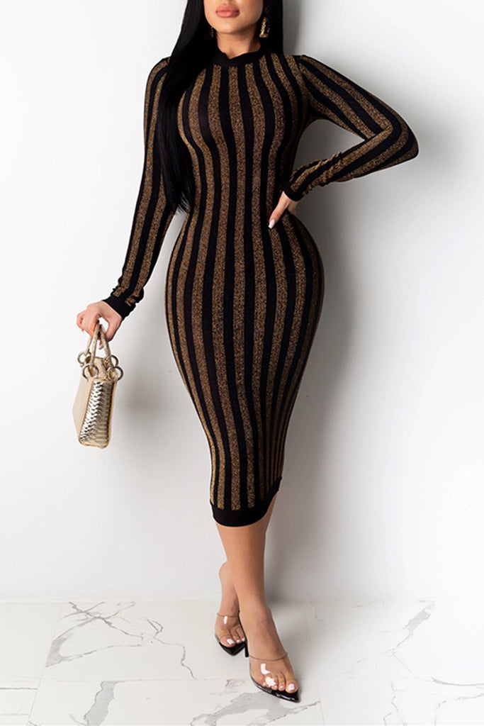 Sequin Striped Long Sleeve Midi Dress