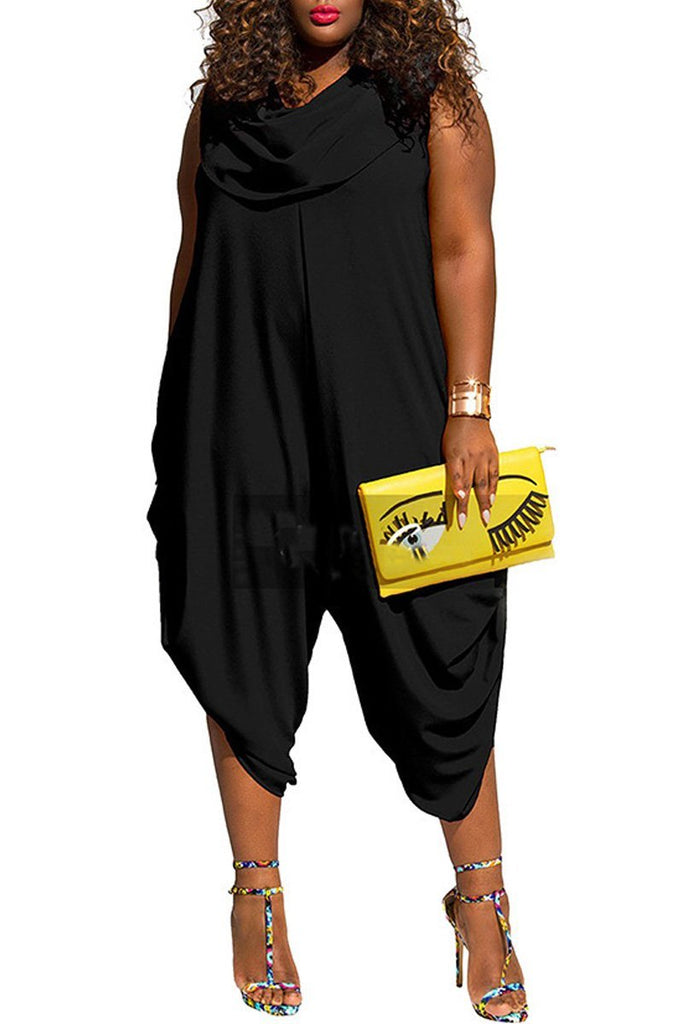 Cowl Neck Solid Color Plus Size Jumpsuit