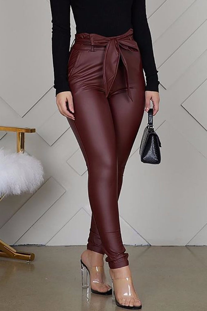 PU High Waist Belted Solid Pants