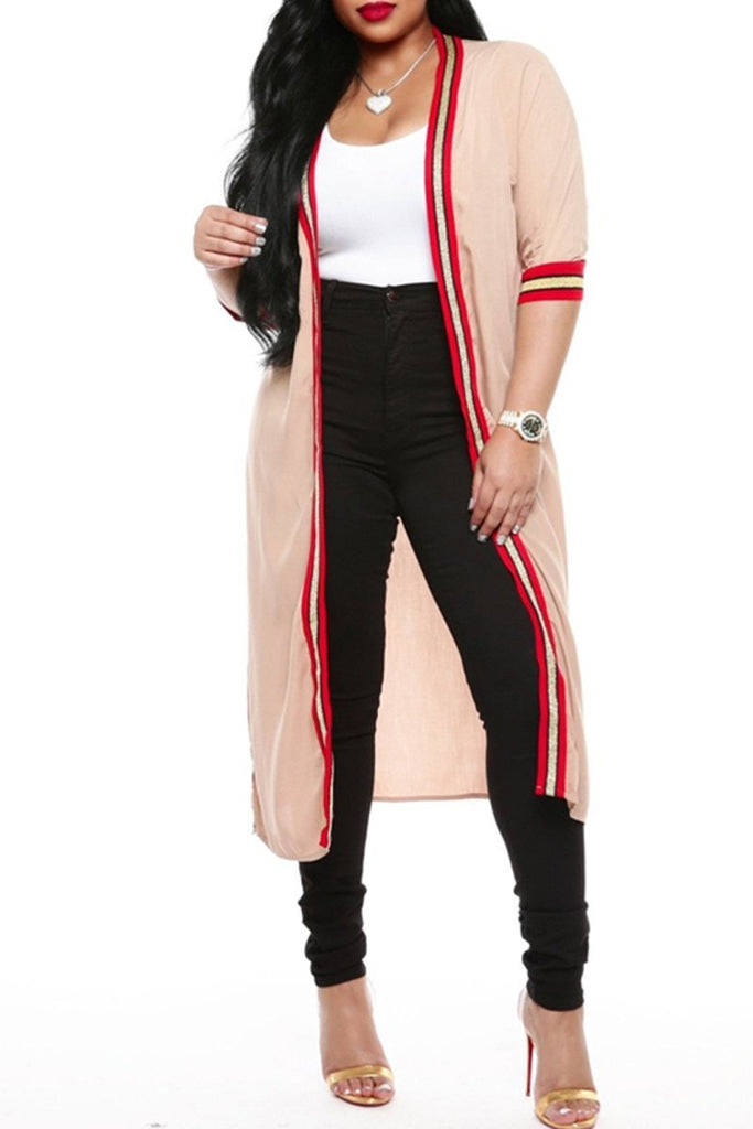 Casual Stripe Patchwork Long Sleeve Cardigan