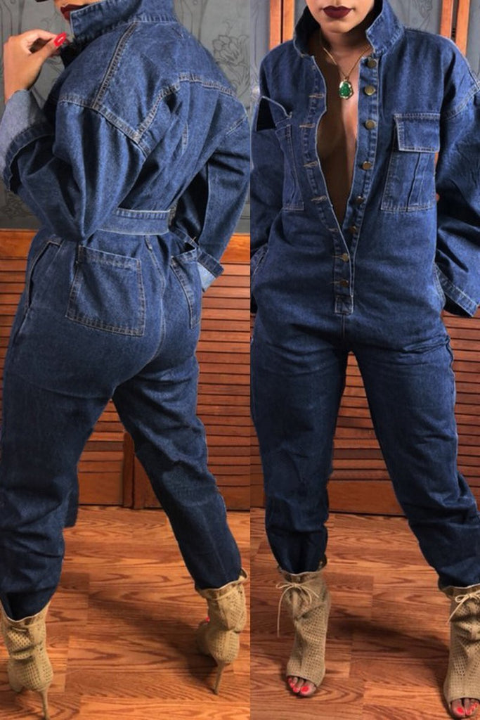 Fashion Simple Casual Denim Jumpsuit With Belt - URBANSHE21