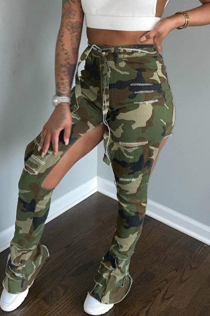 Camouflage Printed Hole Distressed Flared Pants