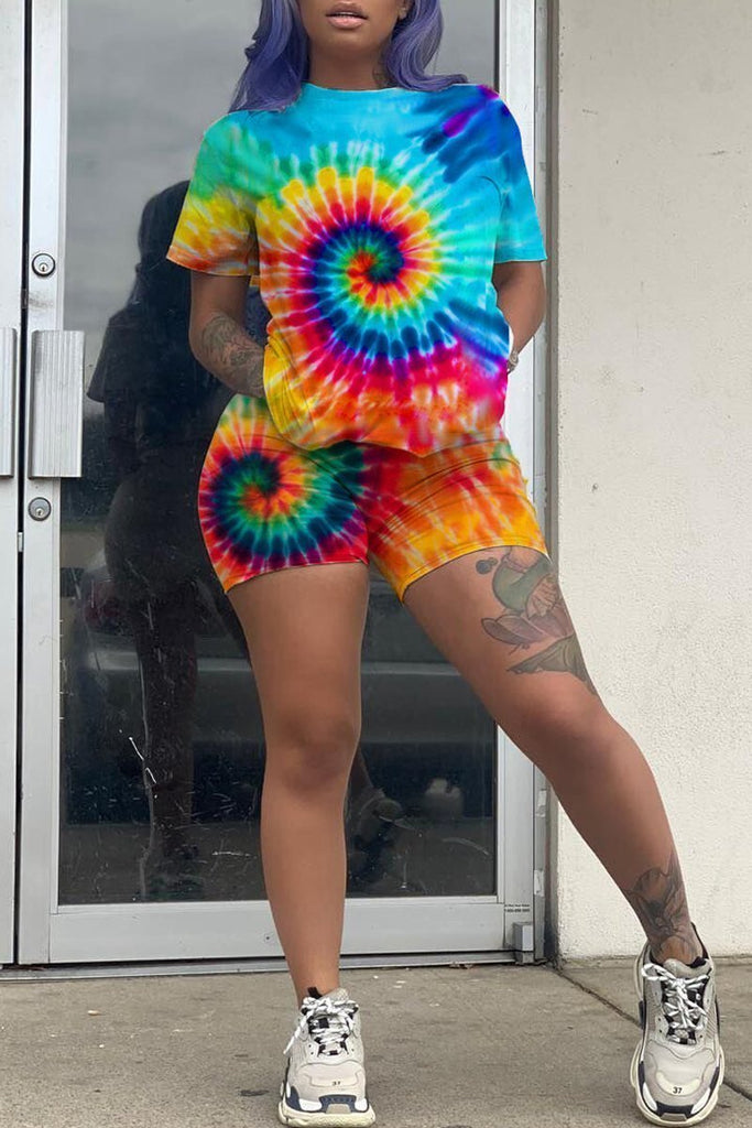 Placement Print Tie Dye Short Sleeve Two Piece Sets