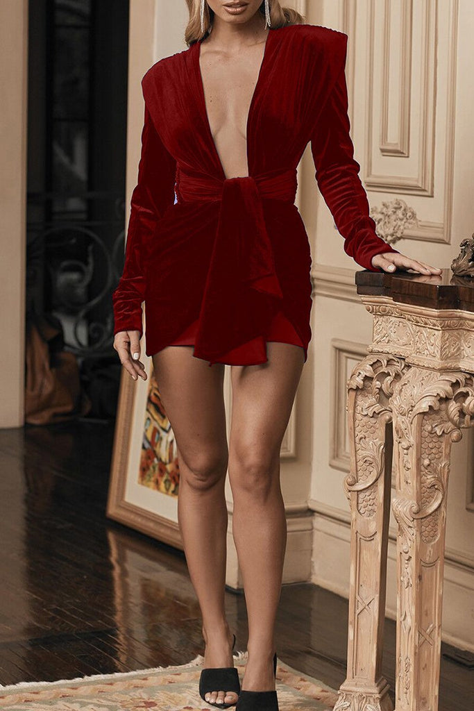 Deep V-Neck Tie Up Bandage Mini Dress