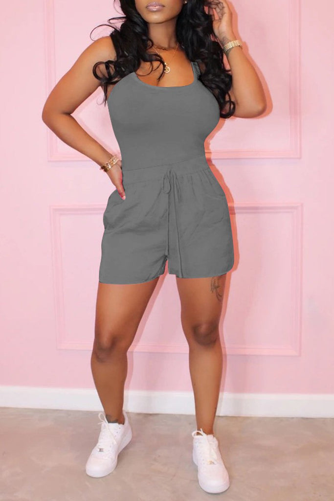Scoop Neck Drawstring Waist Sleeveless Top & Shorts