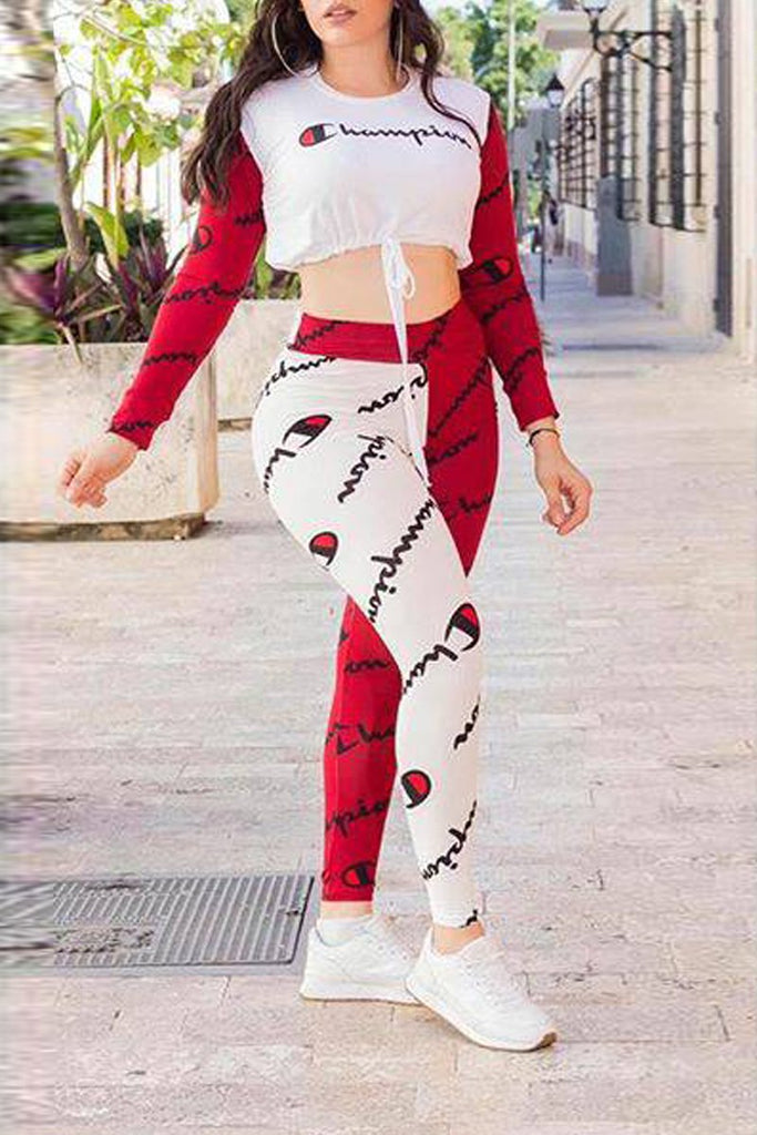 Letter Printed Color Patchwork Top & Pants