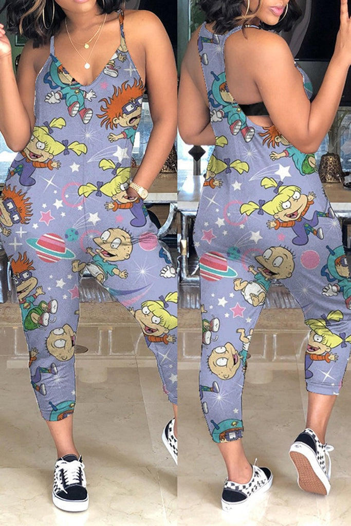 V-Neck Plus Size Cartoon Print Jumpsuit