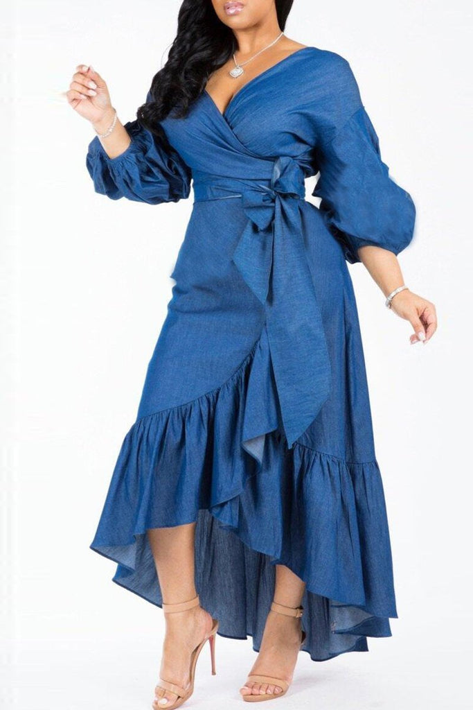 Ruffle Denim V-neck Lantern Sleeve Maxi Dress