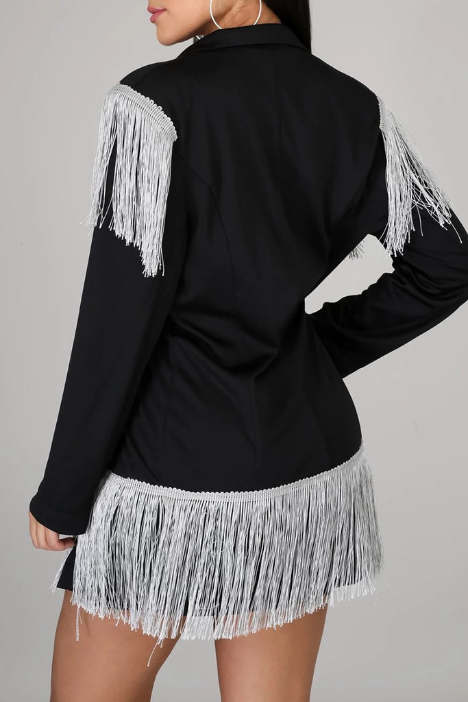 Tassels Wide Lapel Button Up OL Dress