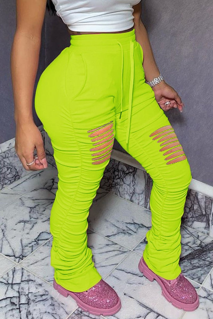 Hole Distressed Plus Size Drawstring Pants