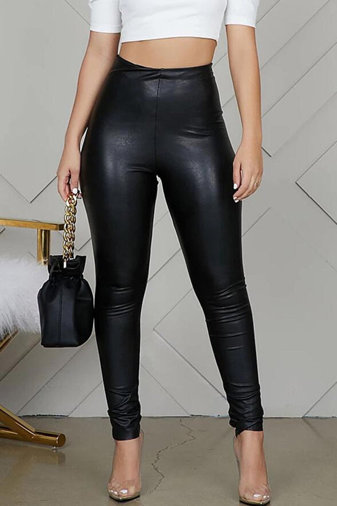 PU High Waist Solid Pants