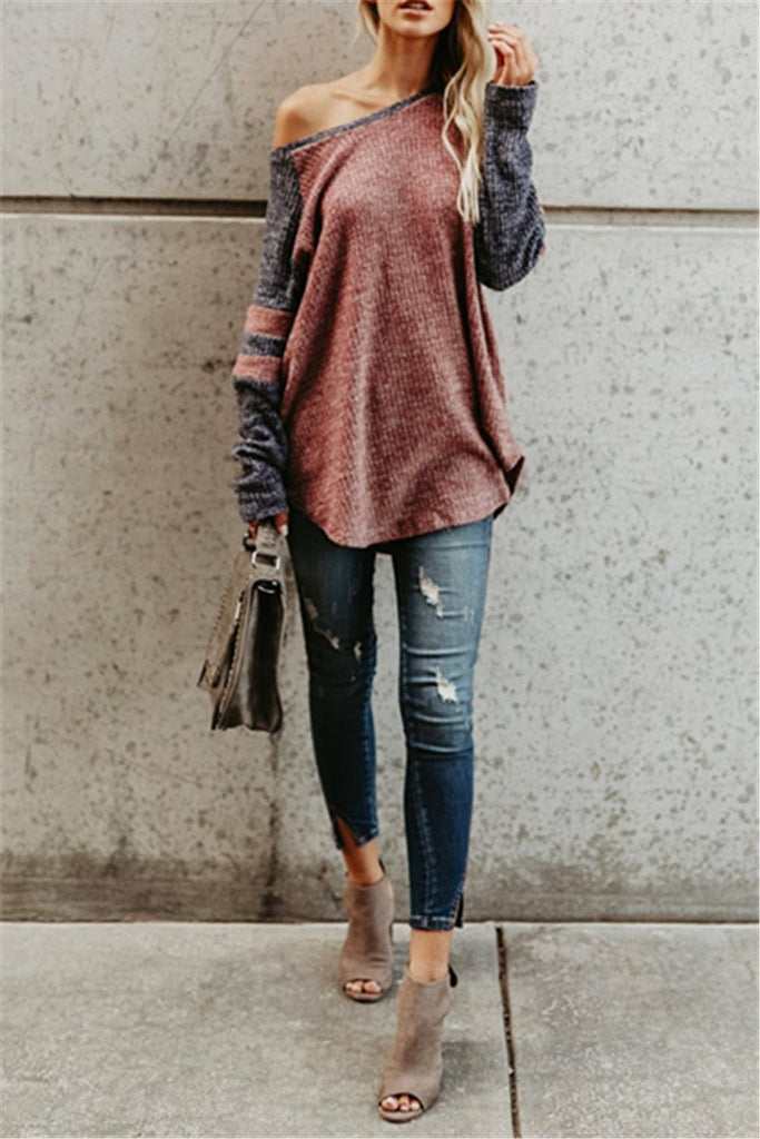 Off the Shoulder Long Sleeve Irregular Patchwork Top