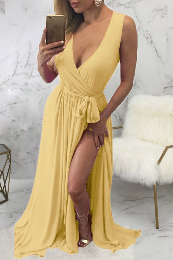 Deep V Neck Lace-up High Slit Plus Size Maxi Dress
