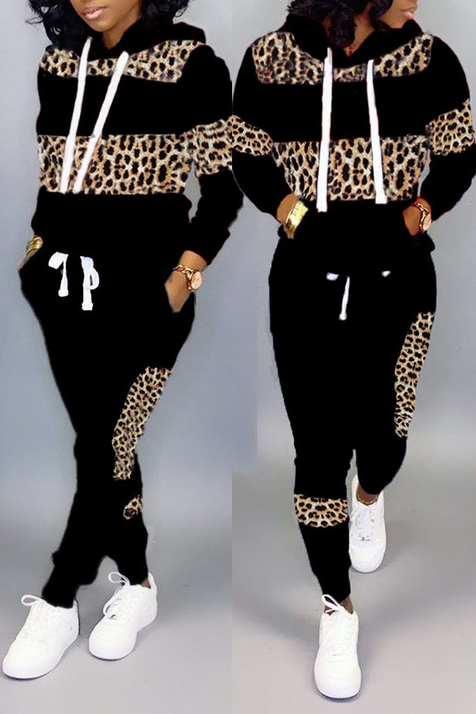 Leopard Print Patchwork Striped Two Piece Sets