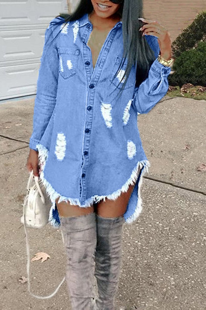 Denim Hole Fringed Pocket Irregular Hem Long Sleeve Dress - URBANSHE21