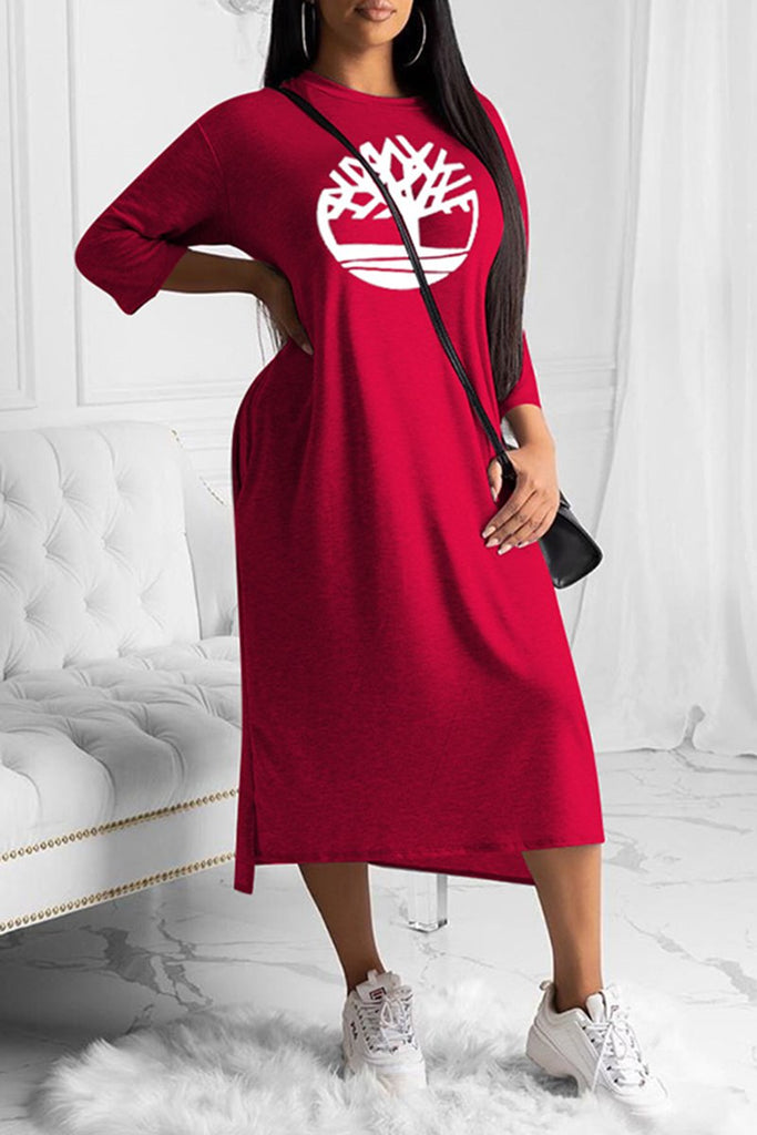 Three Quarter Sleeves Embroidered Solid Color Dress