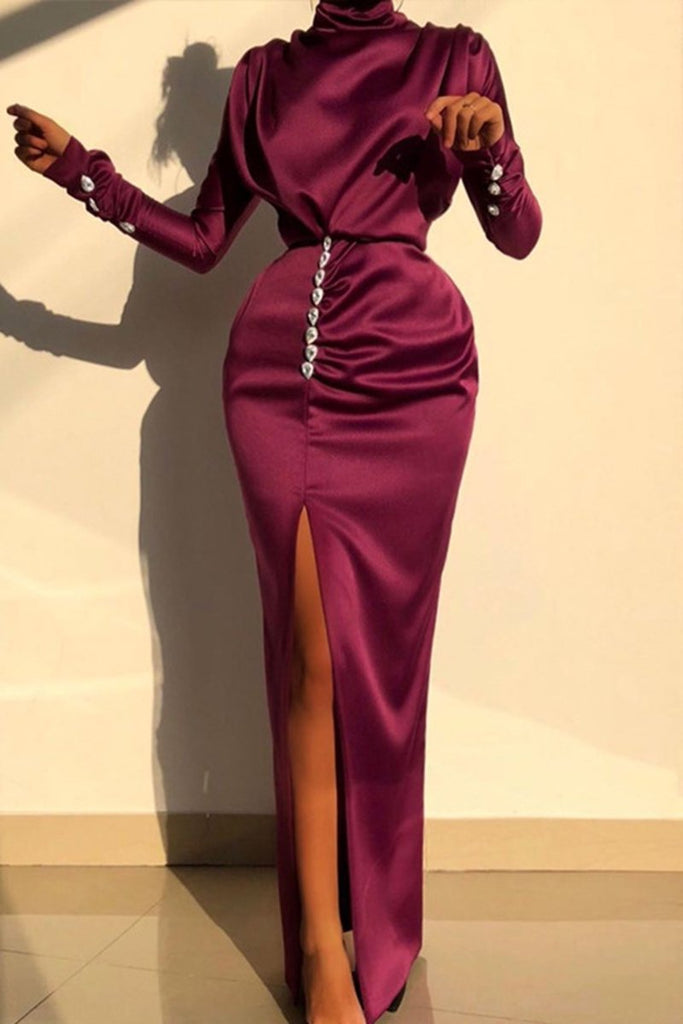 High Slit Button Solid Color Maxi Dress