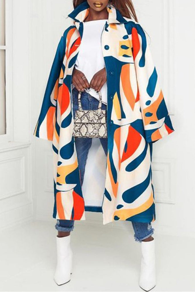 Plus Size Graffiti Print Wide Lapel Button Coat