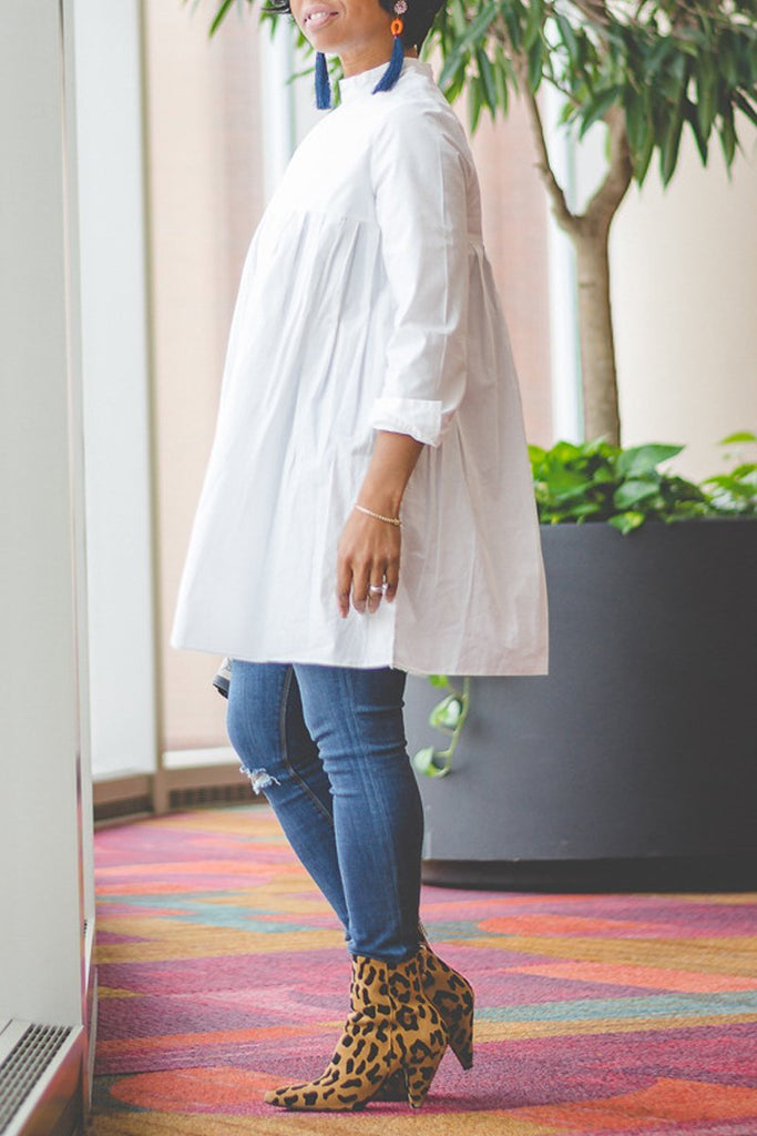 Ruffle High Neck Plus Size Long Sleeve Blouse