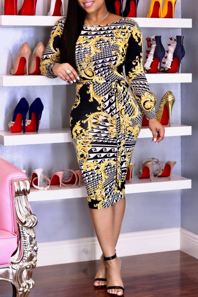 Print Long Sleeve Zipper Belted Bodycon Midi Dress