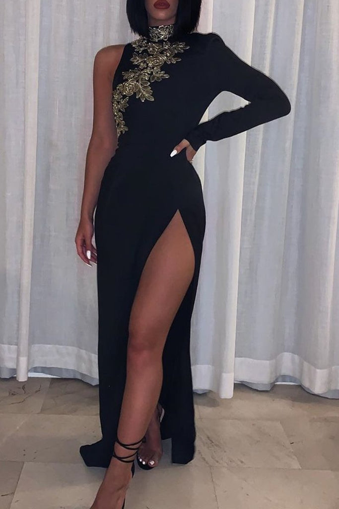 Appliques One Sleeve High Silt Maxi Dress