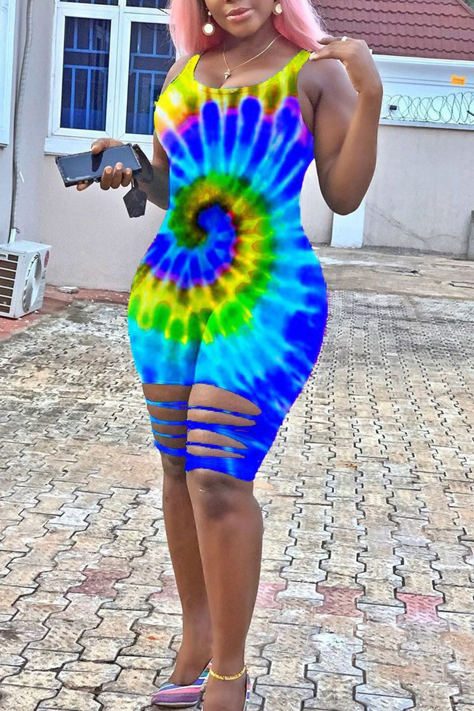 Tie Dye Distressed Plus Size Romper
