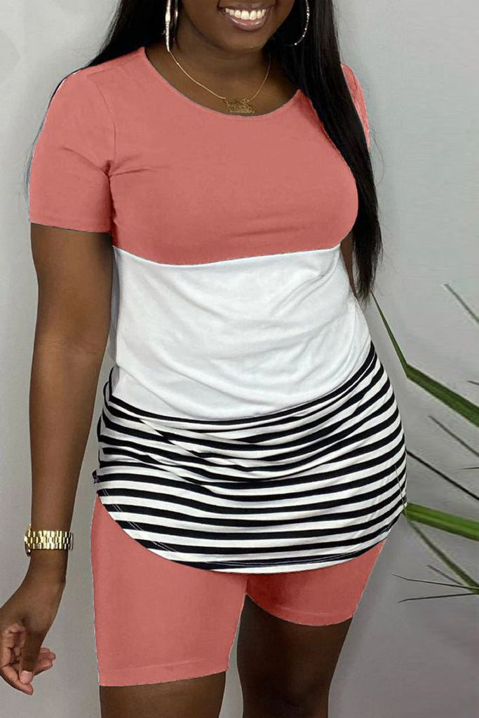 Color Block Stripe Patchwork Plus Size Top & Shorts