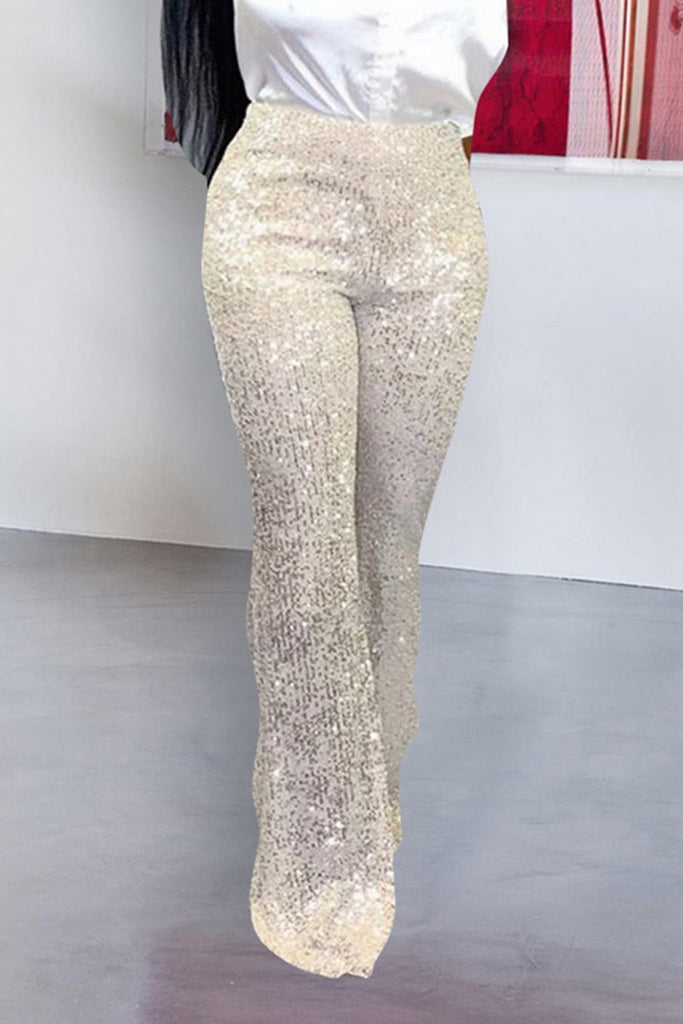Sequins Solid Color Casual Pants