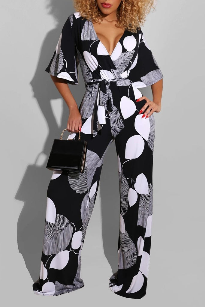V-Neck Flared Sleeve Wide Leg Jumpsuit With Belt