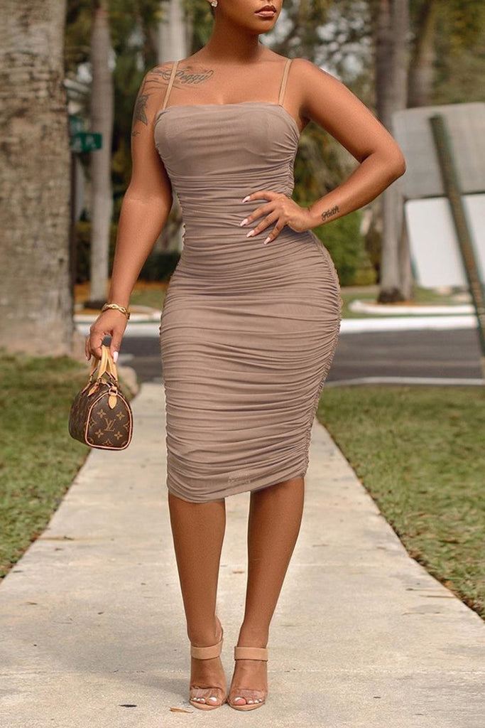 See-Through Wrinkled Solid Color Dress